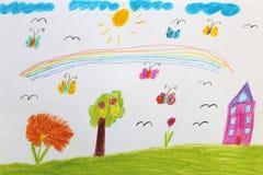 Die Zeichnung der Kinder mit Schmetterlingen und Blumen Stockbilder