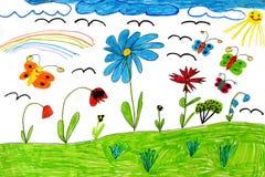 Die Zeichnung der Kinder mit Schmetterlingen und Blumen Lizenzfreies Stockbild