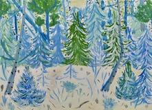 Die Zeichnung der Kinder zu den Märchen '12 Monate '- 'Wald des Winters des neuen Jahres feenhafter ' Gouache auf Papier Naive Ku stock abbildung