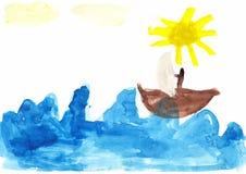 Die Zeichnung der Segelboot-Kinder Stockbilder