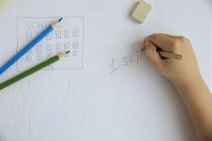Die Zeichnung des Kindes bis 1. September Stockfotografie