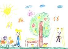 Die Zeichnung des Kindes der Familie Stockbild