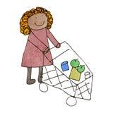 die Zeichnung des Kindes der Frau mit Einkaufslaufkatze Lizenzfreies Stockfoto