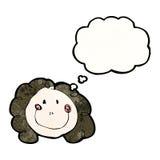 die Zeichnung des Kindes eines glücklichen weiblichen Gesichtes mit Gedankenblase Lizenzfreies Stockfoto