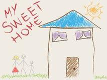 Die Zeichnung des Kindes seines Hauses und Familie lizenzfreie stockbilder