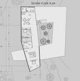Die Zeichnung des Planes des zweiten Niveaus vom Privathaus Stockfoto