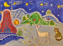 Die Zeichnung eines Kindes auf dem Thema der Ural-Geschichte 'silberner Huf ' Gouache, Hobbys stock abbildung