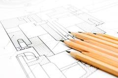 Die Zeichnung und die Bleistifte. Stockbild