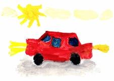 Die Zeichnungs-Auto des Kindes Lizenzfreies Stockfoto