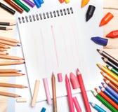 Die Zeichnungsmaterialien Stockfoto