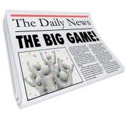 Die Zeitungs-Schlagzeilen-Sportnachrichten-Aktualisierung des großen Spiels Stockfotografie