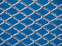 Die Zellen des Gitters der Metalldrähte bedeckt mit Frost Lizenzfreie Stockbilder