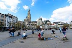 Die zentralen Plätze von Antwerpen Stockfotos
