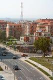 Die zentralen Straßen der bulgarischen Stadt von Pomorie Stockbild