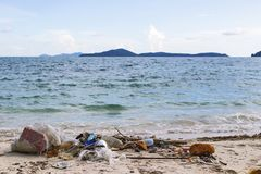 Die Zerstörung der Natur durch die Hand des Mannes Vom Haushaltskaimanfisch Lizenzfreie Stockbilder