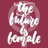 Die Zukunft ist weiblich - übergeben Sie gezogene Beschriftungsphrase über Frau, Mädchen, Feminismus auf dem bordo Hintergrund Sp vektor abbildung