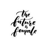 Die Zukunft ist weiblich Feminismusslogankalligraphie Typografiedesign für T-Shirts und Kleid lizenzfreie abbildung