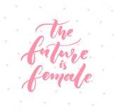 Die Zukunft ist weiblich Inspirationsfeminismuszitat, rosa Typografie auf weißem Hintergrund mit rosa Punkten stock abbildung