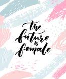 Die Zukunft ist weiblich Inspirierend Feminismusslogan für Poster und Karten Moderne Kalligraphie auf künstlerischem Hintergrund vektor abbildung