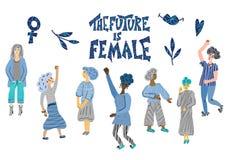 Die Zukunft ist weiblich Vektorhandgezogenes Zitat lizenzfreie abbildung