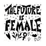 Die Zukunft ist weiblich Vektorhandgezogenes Zitat stock abbildung