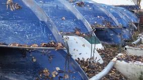 Die Zusammensetzung der Boote im Herbst Viele Boote auf Lager Lizenzfreie Stockbilder
