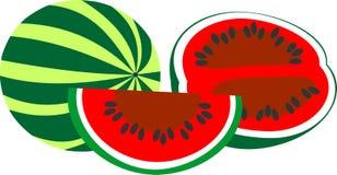 Die Zusammensetzung lokalisiert auf weißer Hintergrundwassermelone Lizenzfreies Stockfoto