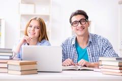 Die zwei Studenten, die zu den Schulprüfungen sich vorbereiten Lizenzfreie Stockfotografie