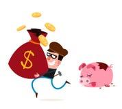 Dieb, der Geld von den Sparschweinen stiehlt Stockfoto