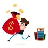 Dieb, der Geld von der Bank stiehlt Stockfoto
