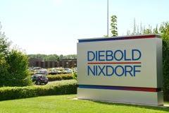 Diebold Nixdorf Company,帕德博恩,德国的标志 库存照片