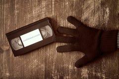 Diebstahl des Videobandes mit vertraulicher Aufzeichnung Lizenzfreies Stockbild