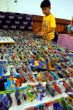 Diecast. Various diecast toys sold in a bazaar in the city of Solo, Central Java, Indonesia Royalty Free Stock Photography