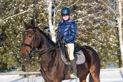 Dieci anni di ragazza che monta un cavallo nell'inverno Immagine Stock