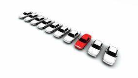 Dieci automobili, un colore rosso! Fotografie Stock Libere da Diritti