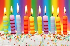 Dieci candele di compleanno Fotografia Stock