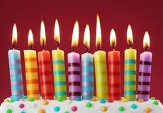 Dieci candele variopinte Fotografia Stock Libera da Diritti