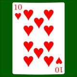 Dieci cuori Icona del vestito della carta, simboli delle carte da gioco illustrazione vettoriale