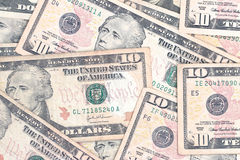 Dieci fatture del dollaro Immagini Stock Libere da Diritti