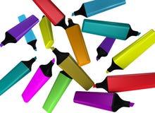 Dieci highlighters dei colori differenti Fotografia Stock Libera da Diritti