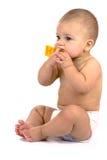 Dieci mesi di seduta del bambino Fotografie Stock
