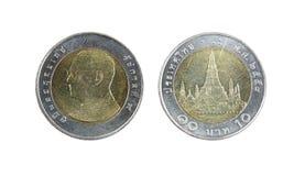 Dieci monete della Tailandia di baht Fotografie Stock Libere da Diritti