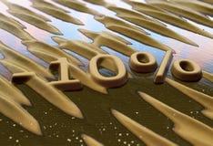 Dieci per cento di riduzione scritta sulla sabbia immagine stock