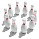 Dieci perni di bowling nel cerchio Immagini Stock Libere da Diritti