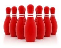 Dieci perni di bowling rossi Immagini Stock