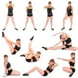 Dieci pose Ragazza di forma fisica Immagine Stock