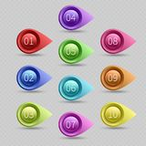 Dieci punti elenchi di colore con la raccolta di vettore di numeri royalty illustrazione gratis