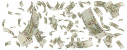 Dieci rubli russe di pioggia Fotografia Stock