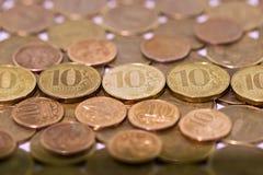 Dieci rubli russe sul fondo dei soldi fotografia stock libera da diritti