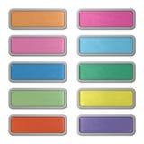 Dieci webbuttons editable lucidi di vetro e di acciaio Fotografia Stock Libera da Diritti